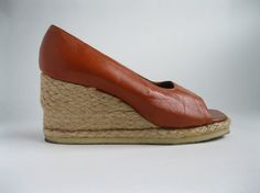 Vintage 1970s Wedge Shoes Rust Leather Nautical by AlexSandras, $68.00