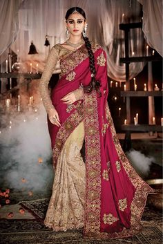 Beige and Pink Colour Net and Satin Fabric Wedding Wear Designer Saree Comes With Matching Banarasi Brocade Fabric Blouse. This Saree Is Crafted With Diamond Work,Patch Work,Lace Work,Embroidery. This...
