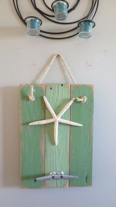 Starfish Wall Hanging green with greens nautical wall hanging boat cleat coat hook reclaimed recycled beach decor upcycled seashore ocean Nautical Theme Bedrooms, Nautical Wall Art, Nautical Design, Beach Design, Boat Cleats, Kid Bathroom Decor, Handmade Signs, Painted Chairs, Pallet Art
