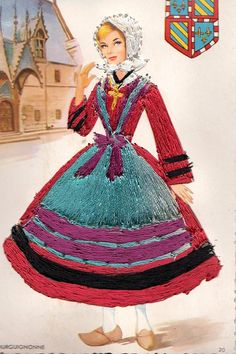 Vintage french embroidered regional costume postcard. Lady in Embroidered Dress Top and Cloth Skirt. Burgundy .Bourgogne.