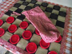 Jumbo Checker Game with Burlap & Cloth Game by itsallinmydetails