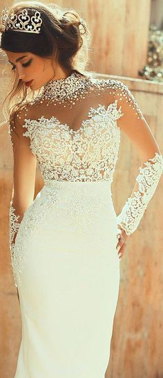 Glamorous Tulle & Satin Illusion High Neckline See-through Sheath Wedding Dresses With Beaded Lace Appliques