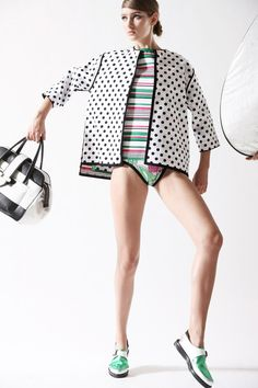Antonio Marras | Resort 2015 Collection | Style.com, swimsuit with stripes and spotted cover up