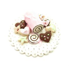 Miniature Swiss Roll & Cookie Platter - Polymer Clay Dollhouse Sweets - Brown Eyed Rose - Handmade jewelry and gifts for every occasion
