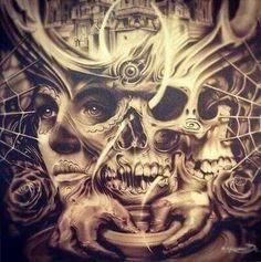 Gaze at it long enough and you'll get a headache ! Chicano Tattoos, Chicano Art, Skull Tattoos, Body Art Tattoos, Sleeve Tattoos, Arabic Tattoos, Dragon Tattoos, Payasa Tattoo, Tattoo Drawings