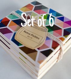 SET Of 6 CERAMIC TILE COASTERS  Each coaster is individually handcrafted using high quality ceramic tiles, scrapbook paper, mod…