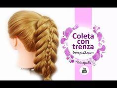 Peinados Faciles: Coletas con Trenza para Niñas con Cabello Largo - YouTube