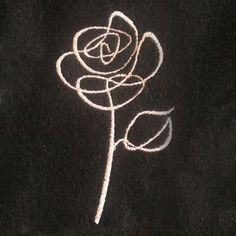 Abstract rose sketch outline machine embroidery design in five sizes. Simple floral embroidery desi - All About Rose Outline Drawing, Rose Outline Tattoo, Rose Drawing Simple, Simple Rose Tattoo, Outline Drawings, Simple Embroidery Designs, Machine Embroidery Designs, Floral Embroidery, Embroidery Tattoo