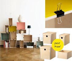 Ikea boxes.