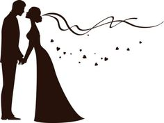 bride and groom silhouette - another option to draw on the chalkboard