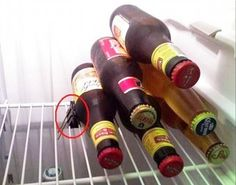 A binder clip used to keep cans and bottles from rolling around in the fridge. 8 Genius Fridge Hacks