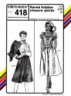 Stretch & Sew 418 Ladies the Flared Hidden Closure Skirts Sewing Pattern (Hip) Sizes 30-32-34-36-38-40-42-44-46 Stetch & Sew,http://www.amazon.com/dp/B00BFMCPG4/ref=cm_sw_r_pi_dp_HYOlsb1A3E4B5BBN