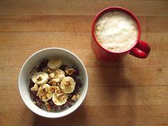 chocolate oatmeal with flax, banana, walnuts, and soy milk