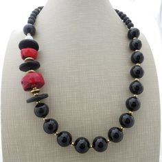 Black onyx necklace red coral necklace chunky necklace big bold necklace multi gemstone necklace beaded necklace summer jewelry by Sofiasbijoux on Etsy