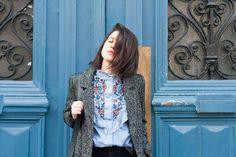 look l'atelier d'al manteau hiver chemise brodée blog mode Paris