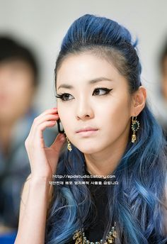 sandara park #asian #blue #hair