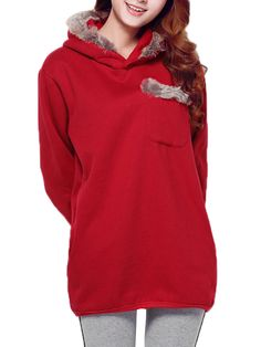 Sale 16% (26.39$) - Casual Women Solid Hooded Patchwork Long Sleeve Pullover Sweatshirt