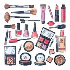 Productos de maquillaje para las mujeres. Color mano dibuja ilustraciones de diferentes accesorios cosméticos. Producto de maquillaje femenino, vector belleza y cuidado