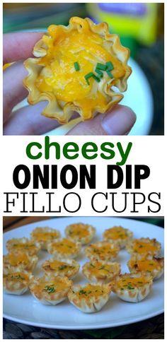 Cheesy Caramelized Onion Dip Fillo Cups #racedayrelief #collectivebias #ad
