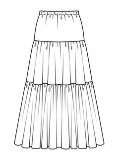 Sewing Skirts Free Burda pattern and instructions for tiered maxi skirt - View details for the project Tiered Maxi Skirt on BurdaStyle. Burda Patterns, Sewing Patterns Free, Clothing Patterns, Dress Patterns, Pattern Sewing, Sewing Clothes, Diy Clothes, Sewing Coat, Skirt Sewing