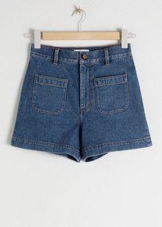 High Waisted Denim Shorts - Dark Blue - Shorts - & Other Stories High Waisted Shorts, Waisted Denim, Denim Cutoffs, Fashion Story, Cotton Blouses, Blue Shorts, Blue Jeans, Patterned Shorts, Capsule Wardrobe