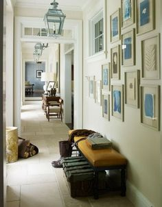 Great idea for picture wall-frame water color paintings of same hue