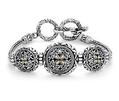 Balinese 3 Circle Bracelet in Sterling Silver and 18k Yellow Gold #BlueNile #Fashion #Jewelry