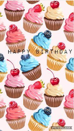 New cupcakes wallpaper iphone happy birthday 44 ideas Happy Birthday Quotes, Happy Birthday Images, Happy Birthday Wishes, Birthday Fun, Birthday Greetings, Berry Cupcakes, Mini Cupcakes, Birthday Cupcakes, Cupcakes Wallpaper