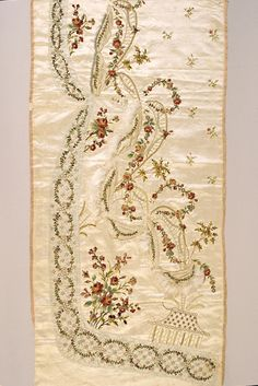 Embroidered silk satin panel for a skirt, French, ca. 1760, KSUM 1983.1.1303.