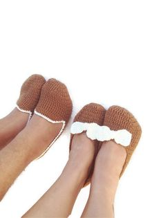 Free shipping His and Hers Crochet Slippers  man and by NesrinArt, $50.00