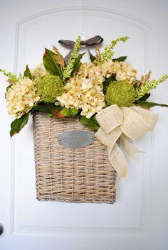 Spring Wreath For Door, Summer Wreath,Large Spring Basket For Door, Spring  Wall Basket, Rustic Hanging Basket, Whitewashed Basket For Door | Summer  Wreath, ...