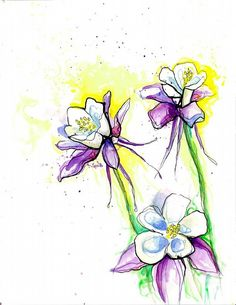 Columbine Watercolor, by Justine Nordine Columbine Tattoo, Columbine Flower, Watercolor Pattern, Watercolor Flowers, Book Of Remembrance, Work Images, Gorgeous Tattoos, Amazing Paintings, Plant Drawing