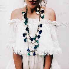 blue and white long tassel boho necklace