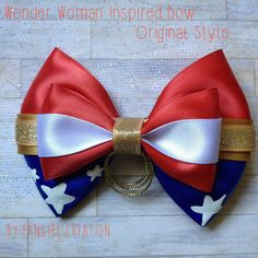 The Wonder Woman Inspired Bow by FangirlCreation on Etsy