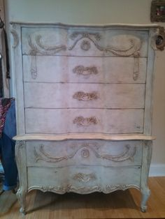 Antique dresser, painted with Annie Sloan chalk paint, clear and dark waxed.