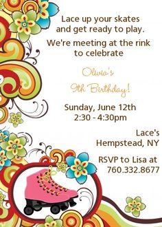 Roller Skating - Birthday Party Invitations