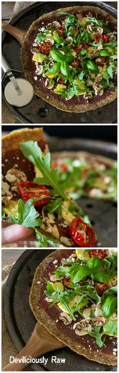 NUT-FREE zucchini based Raw Vegan Pizza & sundried tomato sauce, fresh basil and ruccola, dehydrated sweet pineapple, cherry tomatoes and mushrooms topped with macadamia parmesan by Deviliciously Raw.