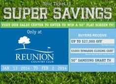"Reunion Country Club | Hoschton, GA | Single Family Homes | Save big on a new home PLUS enter to win a 50"" Samsung Smart TV!"