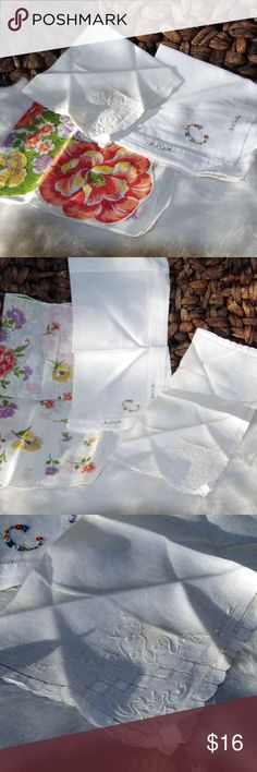 Vintage Hankies Hankerchiefs Hanky Set of three vintage hankies, embroidered white on white, embroidered monogram w/flowers and a floral pattern in coral, purple, green & yellow. The largest is about 13 inches. All in very nice condition for their age. Accessories