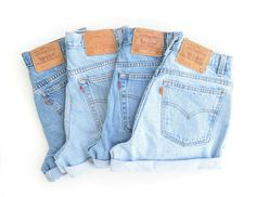 Vintage Levis High Waisted Cuffed Denim Shorts Light Stone Wash Jeans / xs s m l xl xxl Levis Jeans, Hotpants Jeans, Denim Shorts, Pocket Shorts, Cut Jeans, Jeans For Short Legs, Jeans For Short Women, Fashion Weeks, Fast Fashion
