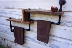 Bathroom Towel Rack With Two Reclaimed Oak by Loftessentials, $149.00