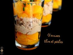 Recipe for Verrines with tuna and peach - Trend Cocktail Food Ideas 2019 Cocktail Recipes, Cocktails, Tuna, Spices, Brunch, Food And Drink, Appetizers, Cooking Recipes, Dishes