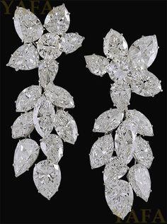 HARRY WINSTON Diamond Cluster Earrings - Yafa Jewelry
