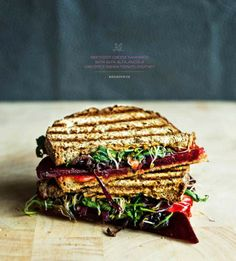 Beetroot Sandwich with Alfalfa, Arugula and Spicy Indian Chutney