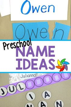 Easy do-it-yourself name ideas for preschoolers. These activities are affordable, simple to put together, and will be fun for preschoolers to enjoy. Learning their names is so important, so why not make it fun. Preschool Names, Name Activities, Preschool Learning Activities, Preschool Lesson Plans, Learning Resources, Teaching Strategies, Learning Games, Preschool Ideas, Learn To Spell