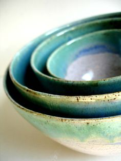 Handmade Wheel Thrown Stoneware Nested Bowls Set by NewMoonStudio, $125.00