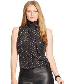 e36febbe905 Lauren Ralph Lauren Plus Size Sleeveless Tie-Neck Top - Tops - Plus Sizes -