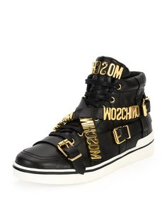 N3MEX Moschino Multi-Strap Leather High-Top Sneaker, Black