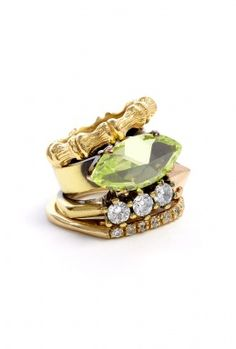 Gem Stones And Bones Stacking Rings by Iosselliani.  Love.
