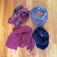 Scarf bundle of four! Four scarves! The two on the right are infinity, the two on the left are not. The knit one is coming unraveled a bit at the end and shows significant pilling. The zebra one has pulling and fraying at the edges. Still, it's a great little bundle of scarves to get you started for fall! Accessories Scarves & Wraps